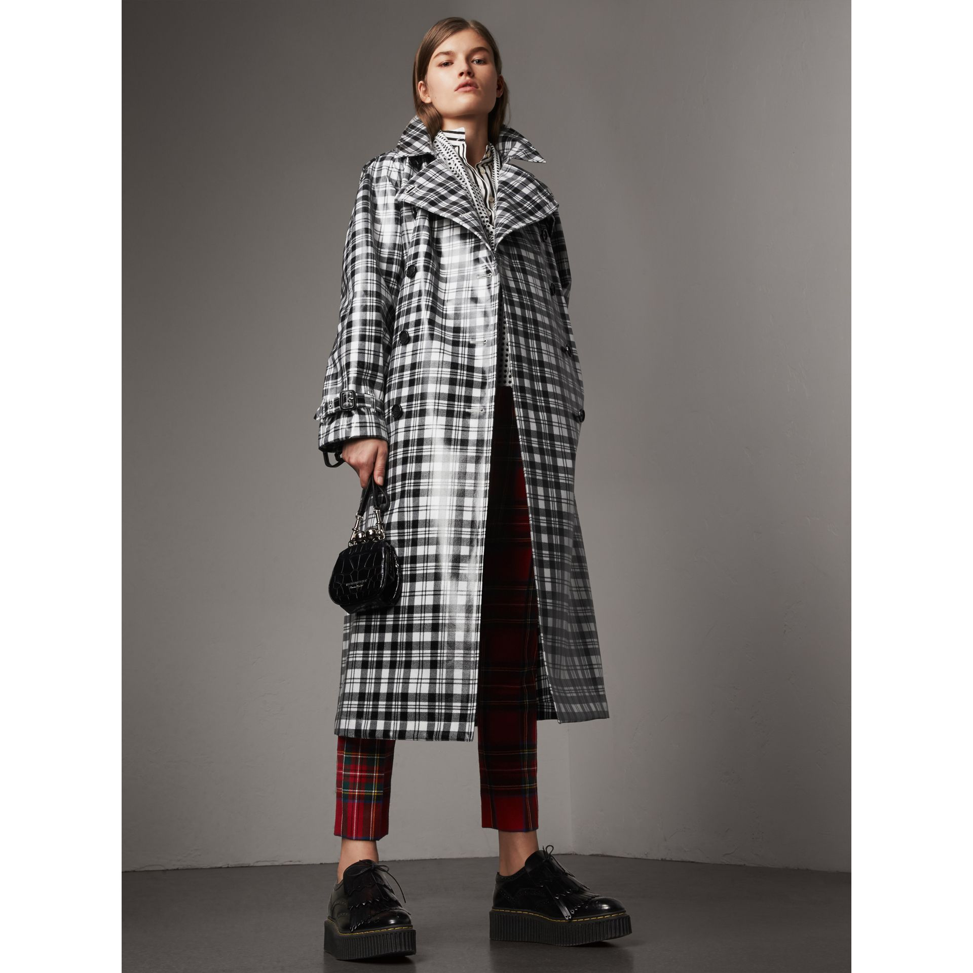 Laminated Tartan Wool Trench Coat in Black/white - Women | Burberry - gallery image 1