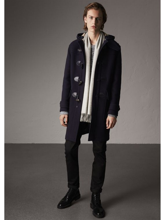 Wool-Blend Duffle Coat in Navy