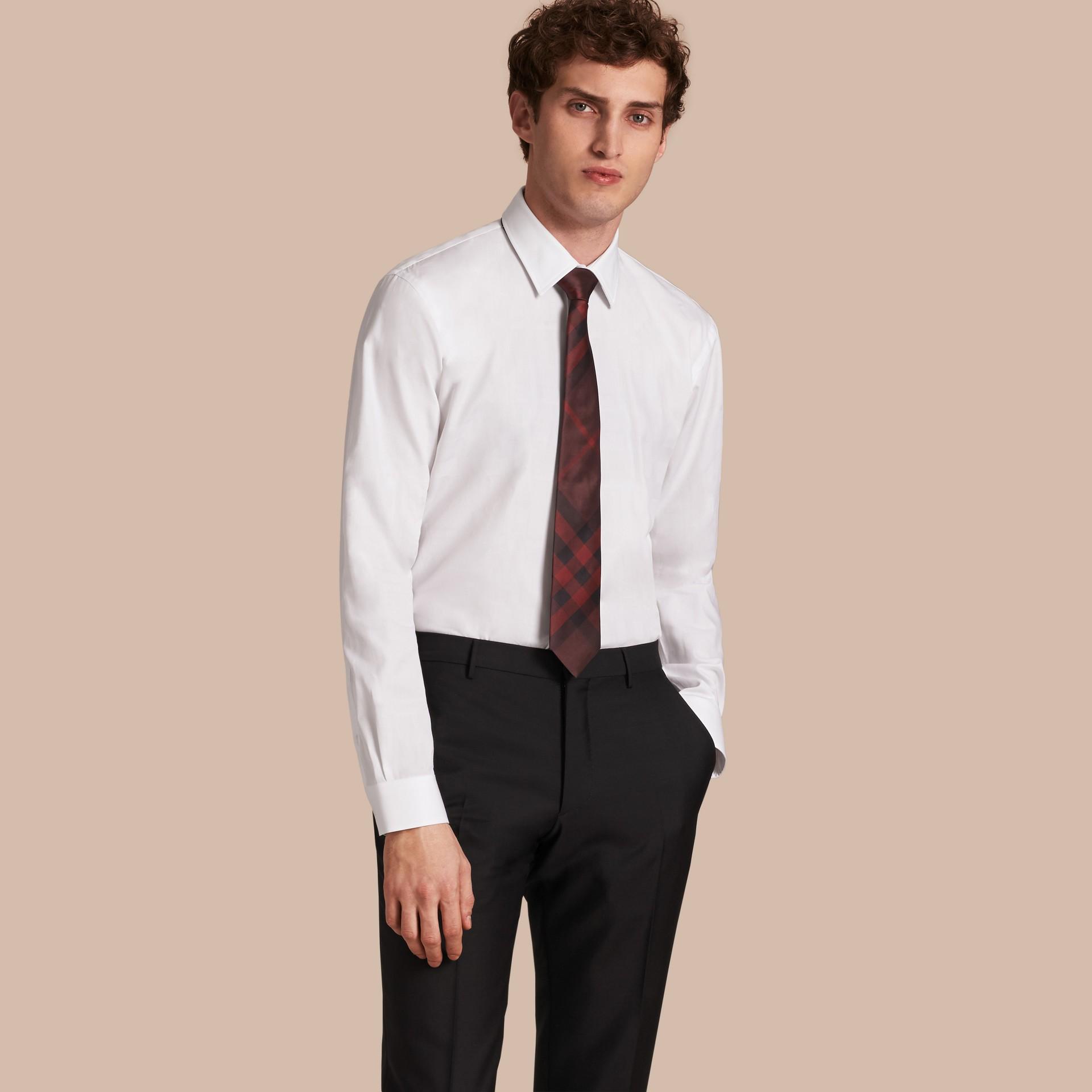 Modern Fit Check Cotton Poplin Shirt White - gallery image 1