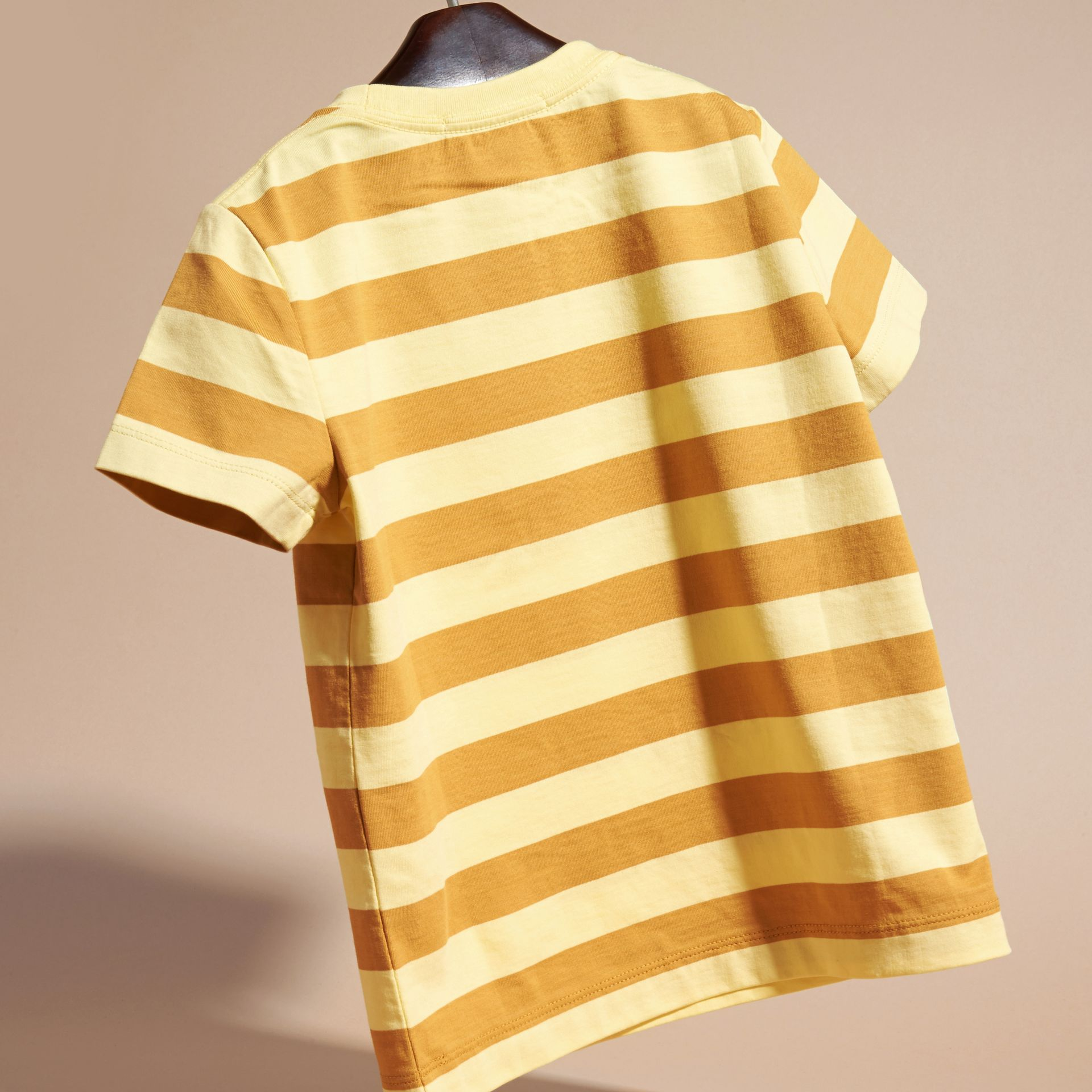Striped Cotton T-shirt in Pale Yellow/ochre Yellow - Boy | Burberry Hong Kong - gallery image 4