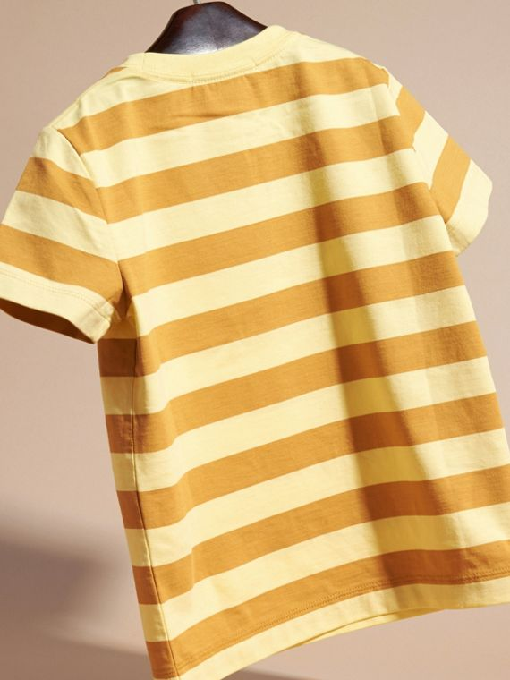 Striped Cotton T-shirt in Pale Yellow/ochre Yellow - Boy | Burberry - cell image 3