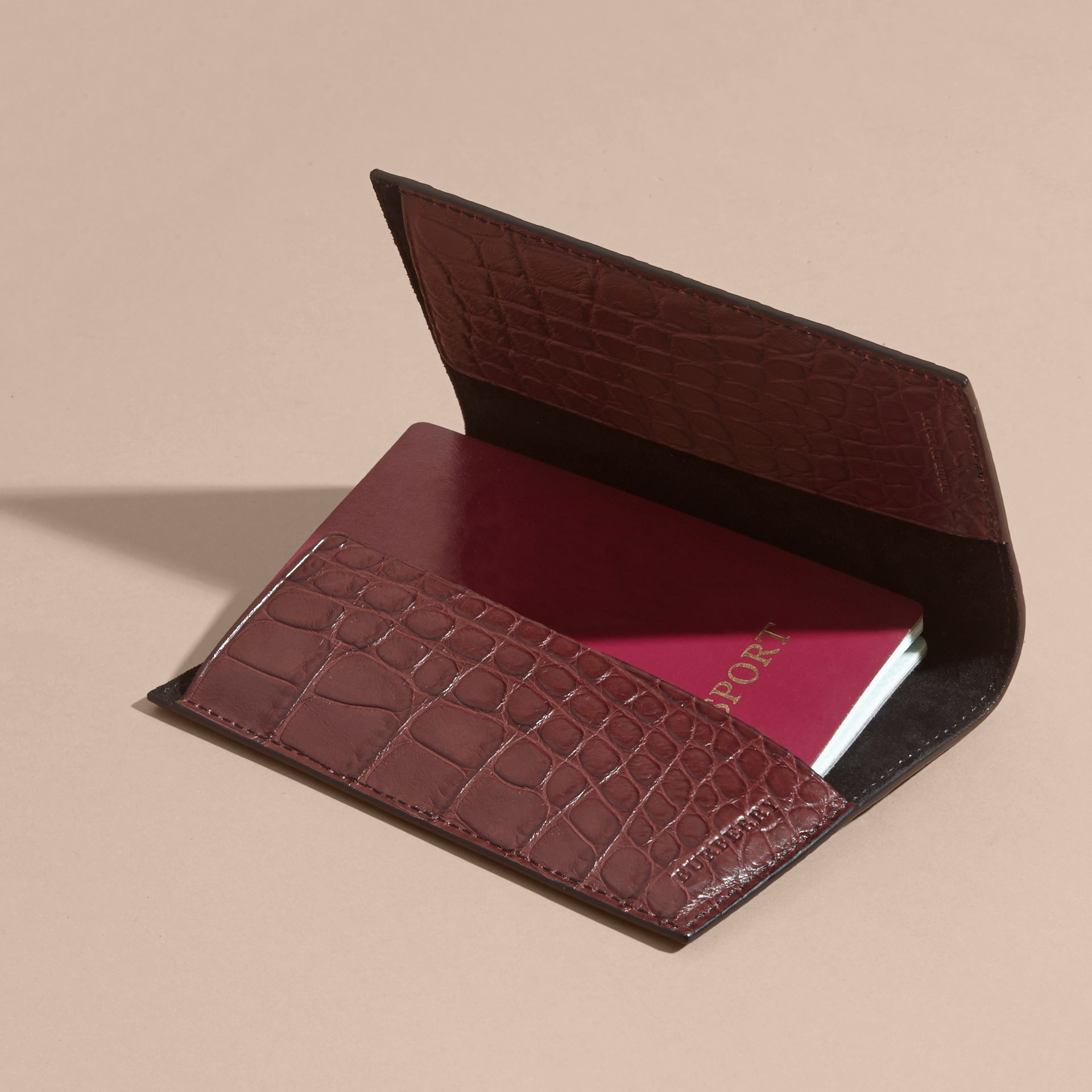 Alligator Passport Holder in Deep Claret - gallery image 4