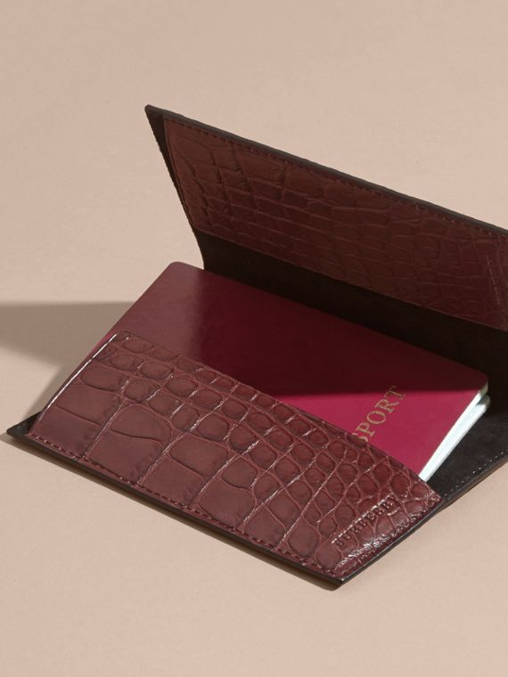 Alligator Passport Holder in Deep Claret | Burberry - cell image 3