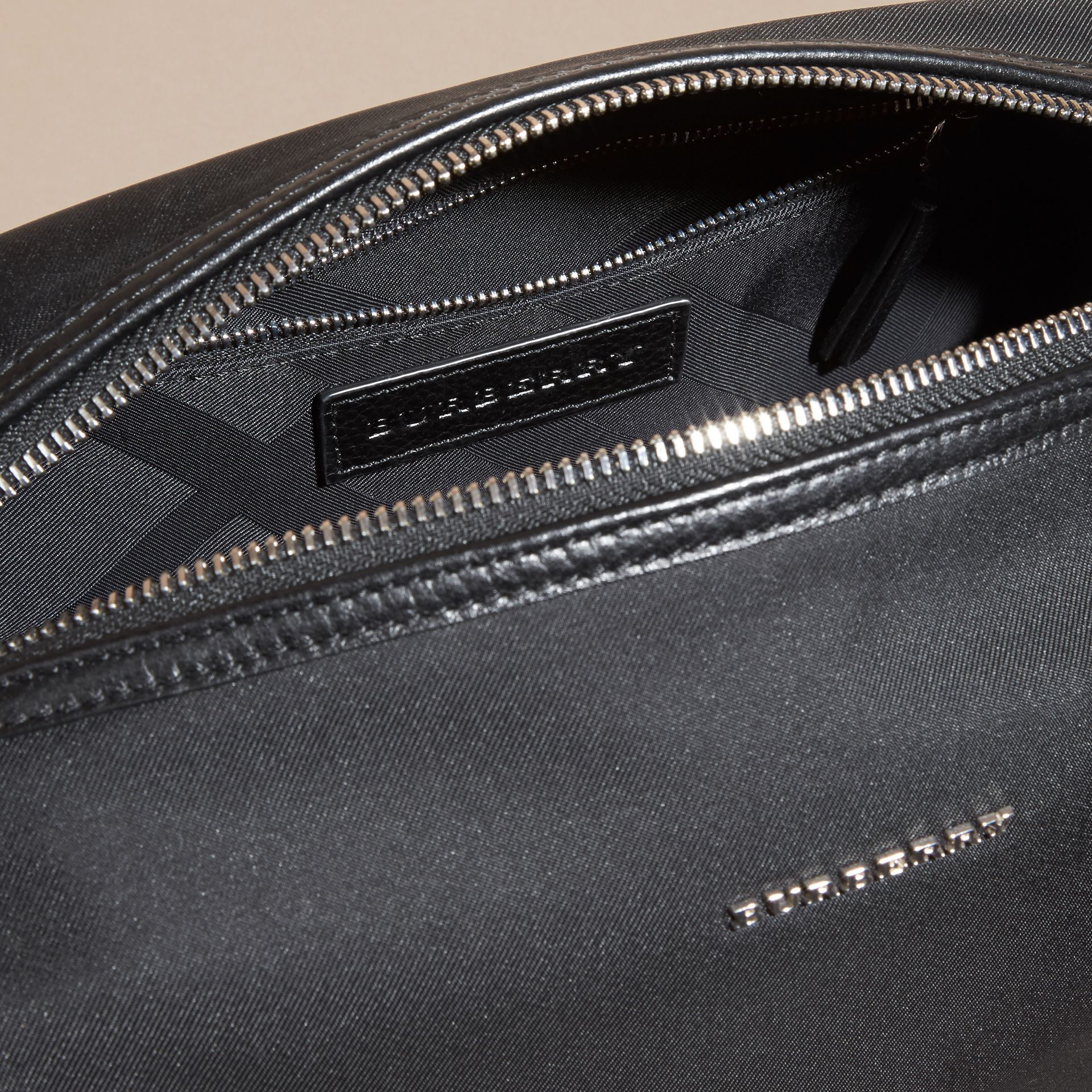 Black Leather Trim Washbag - gallery image 5