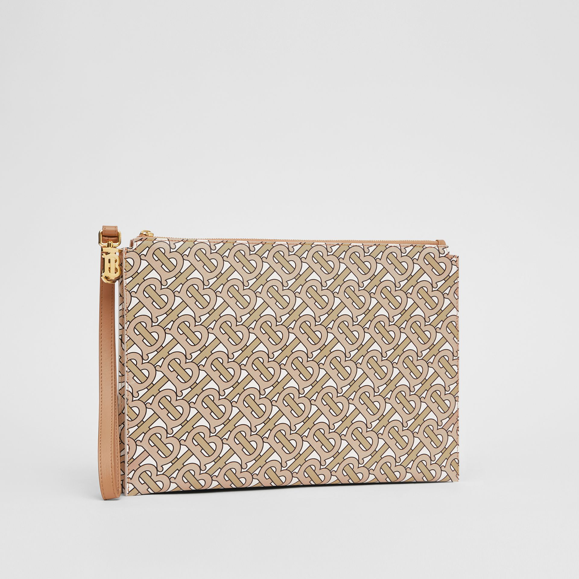 Monogram Print Leather Pouch in Beige - Women | Burberry - gallery image 5
