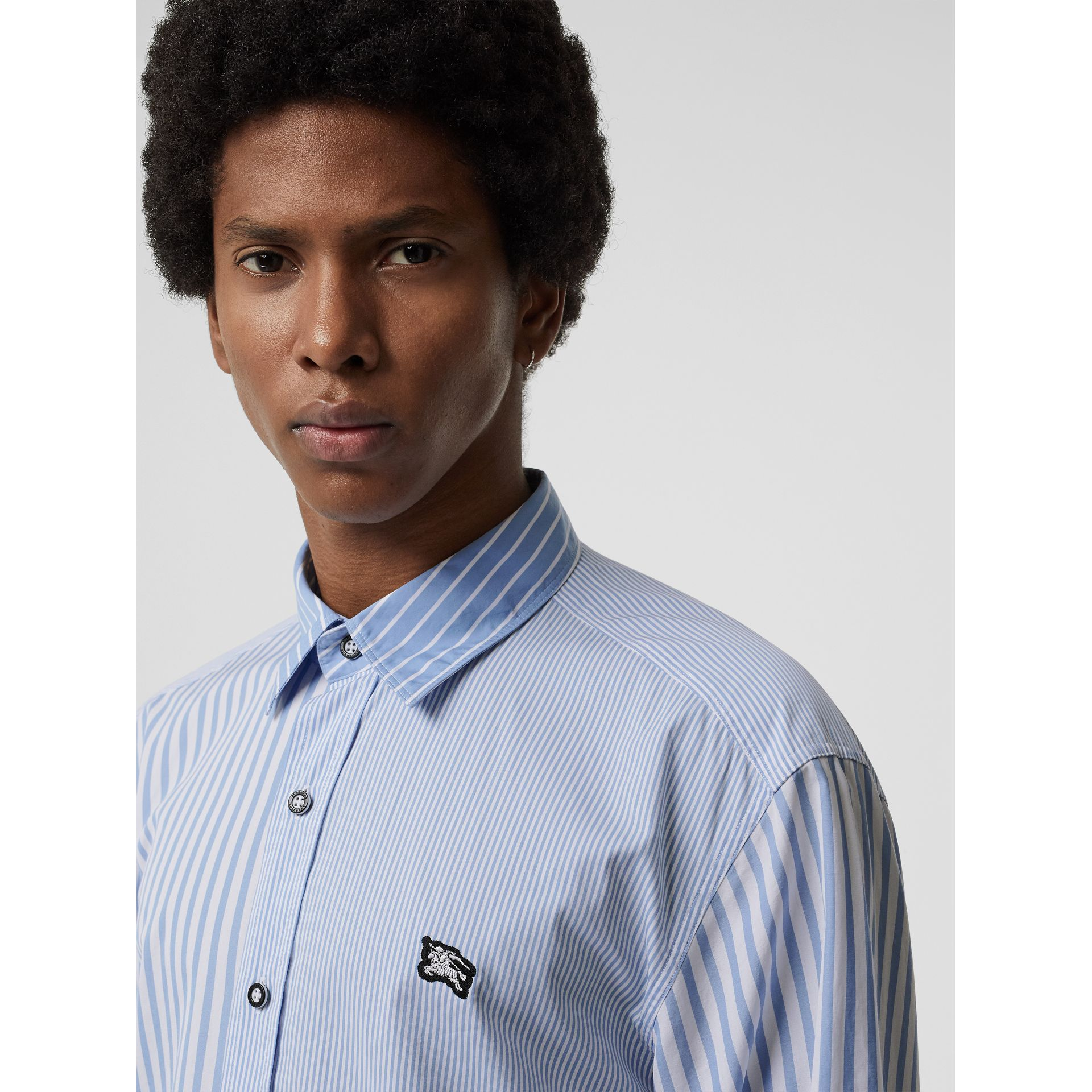 Contrast Stripe Cotton Poplin Shirt in Chalk Blue - Men | Burberry - gallery image 1