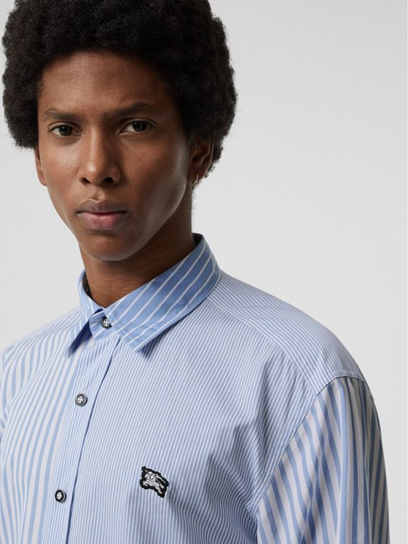 Contrast Stripe Cotton Poplin Shirt in Chalk Blue - Men | Burberry - cell image 1