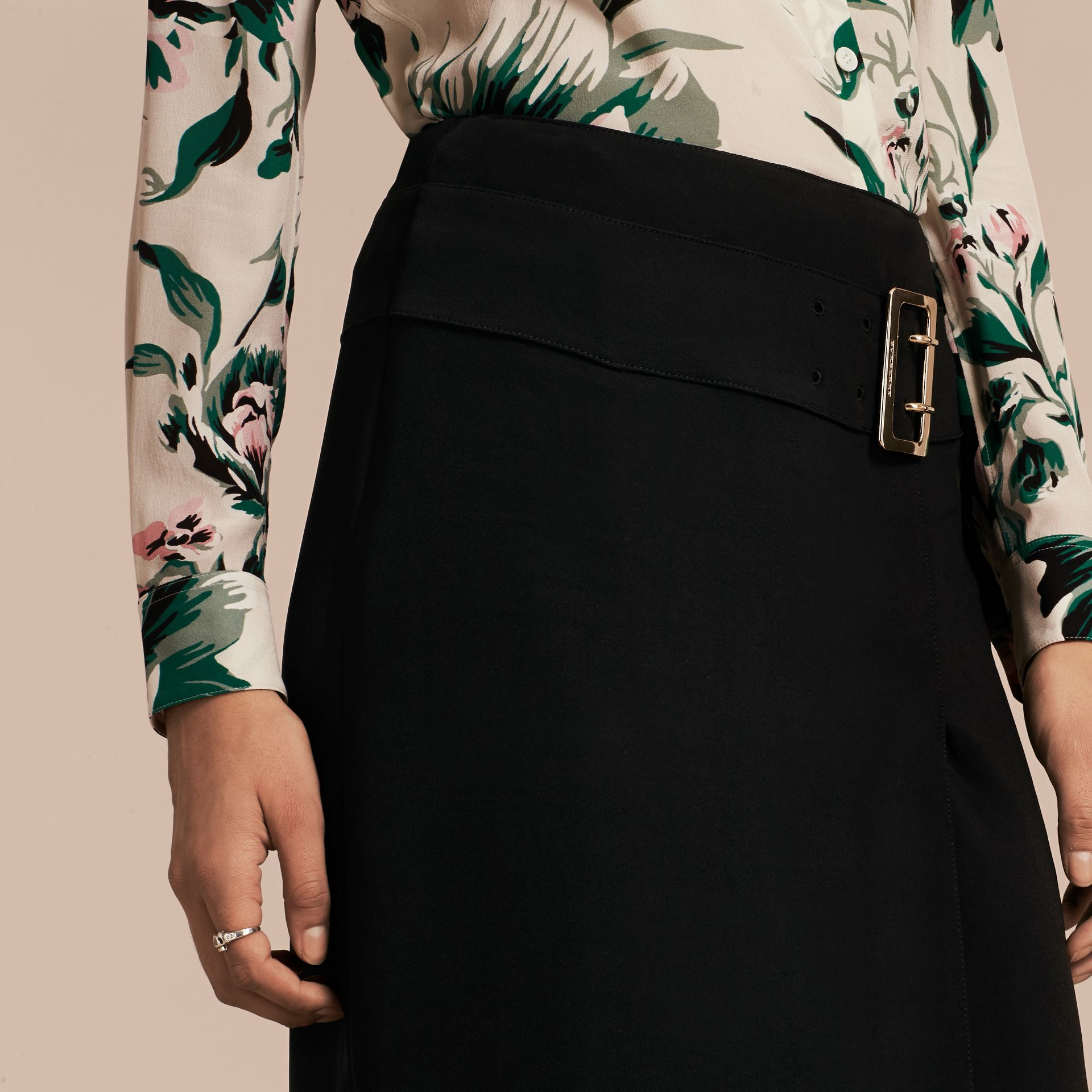 Black Belt Detail Technical Stretch Pencil Skirt - gallery image 5