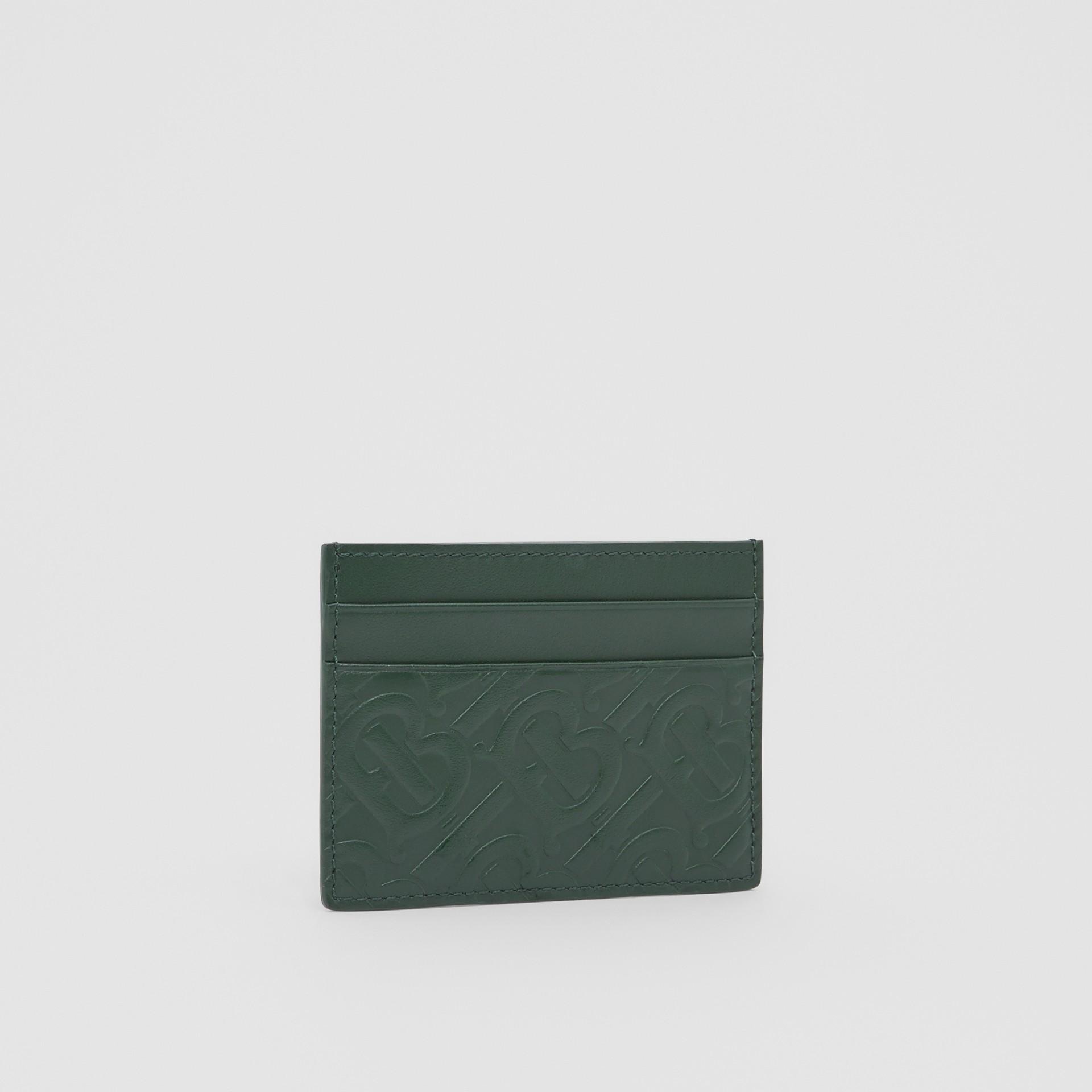 Monogram Leather Card Case in Dark Pine Green - Men   Burberry United Kingdom - gallery image 3