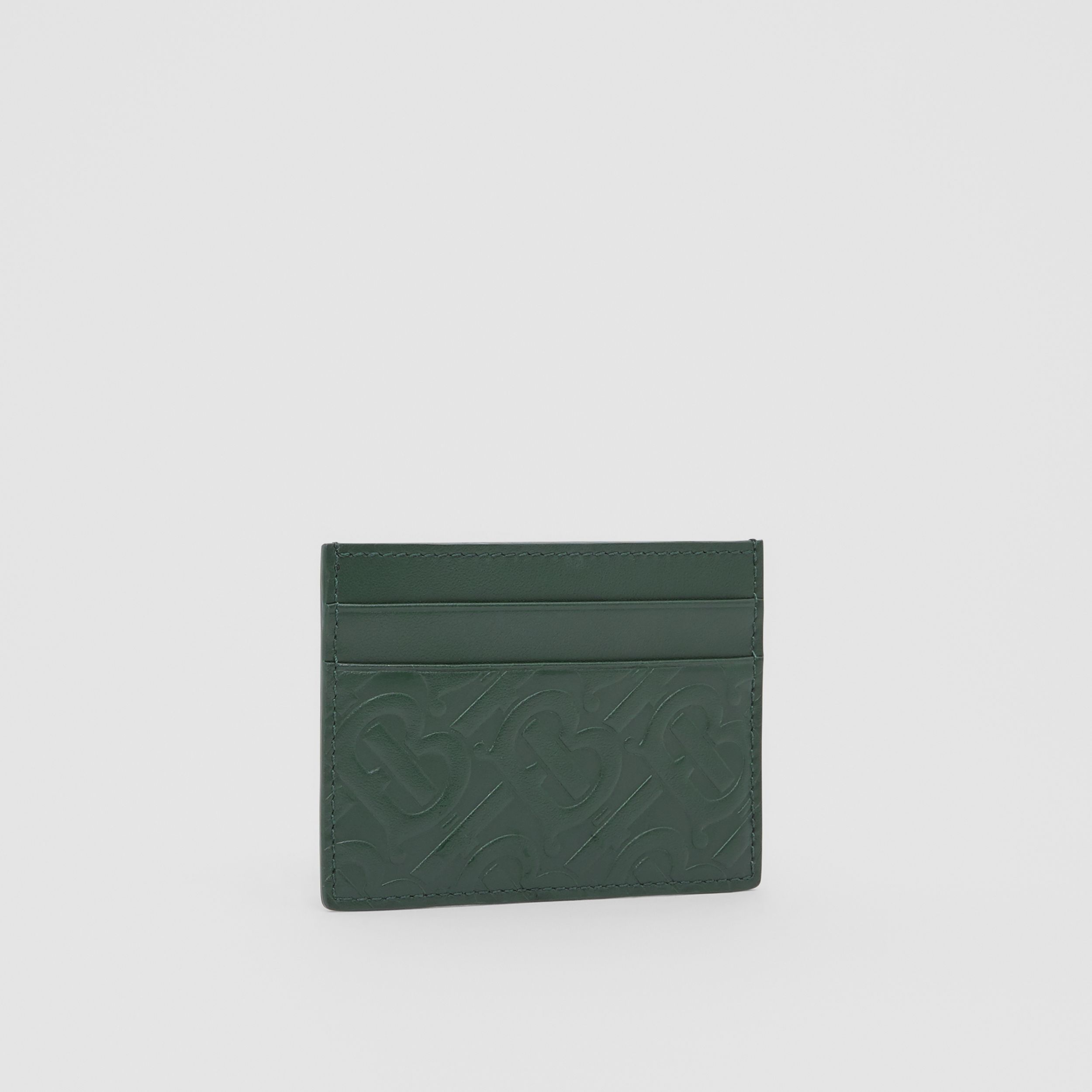 Monogram Leather Card Case in Dark Pine Green - Men | Burberry - 4