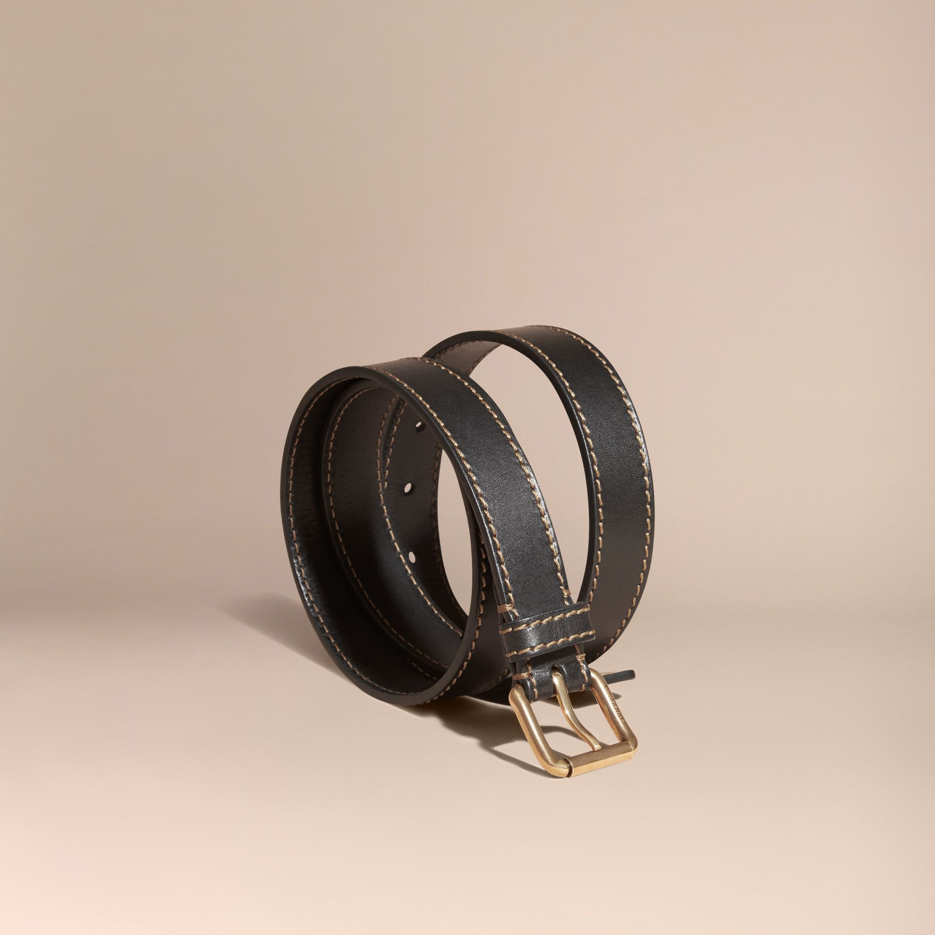 Black Smooth Leather Belt with Topstitch Detail - gallery image 1