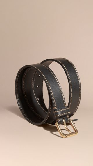 Smooth Leather Belt with Topstitch Detail