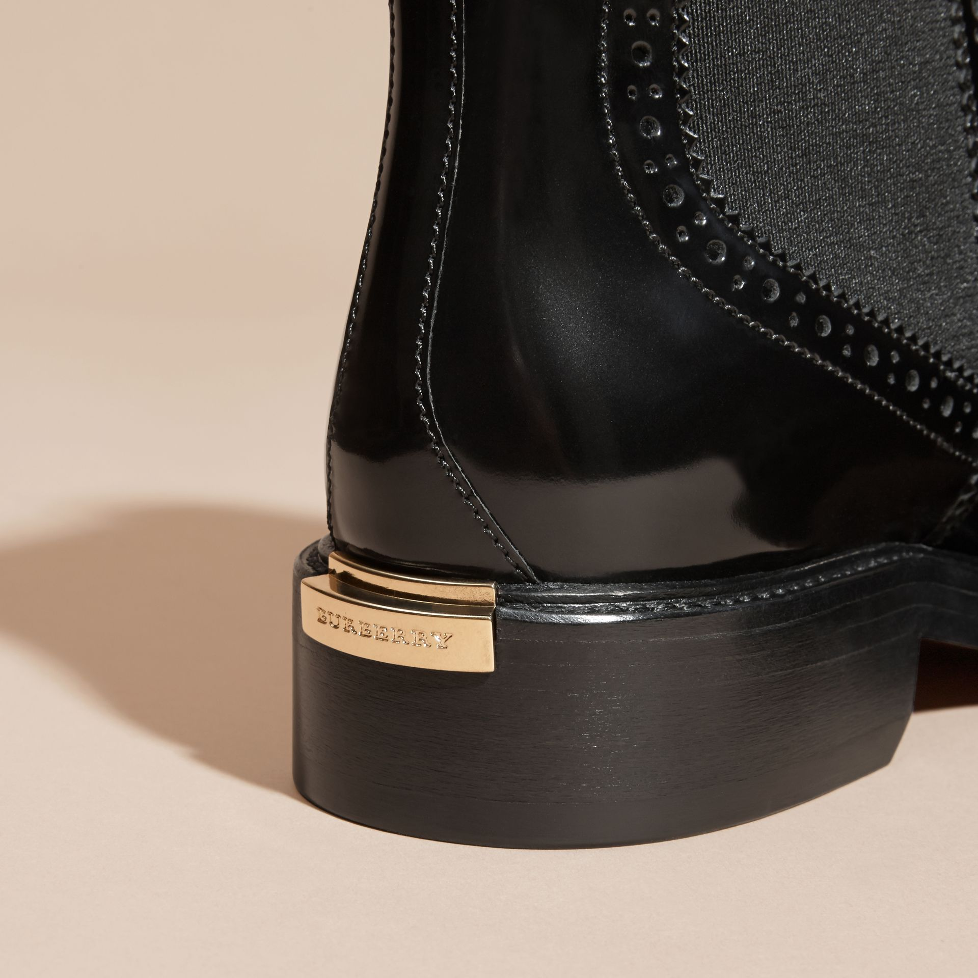 Black Leather Wingtip Chelsea Boots - gallery image 2