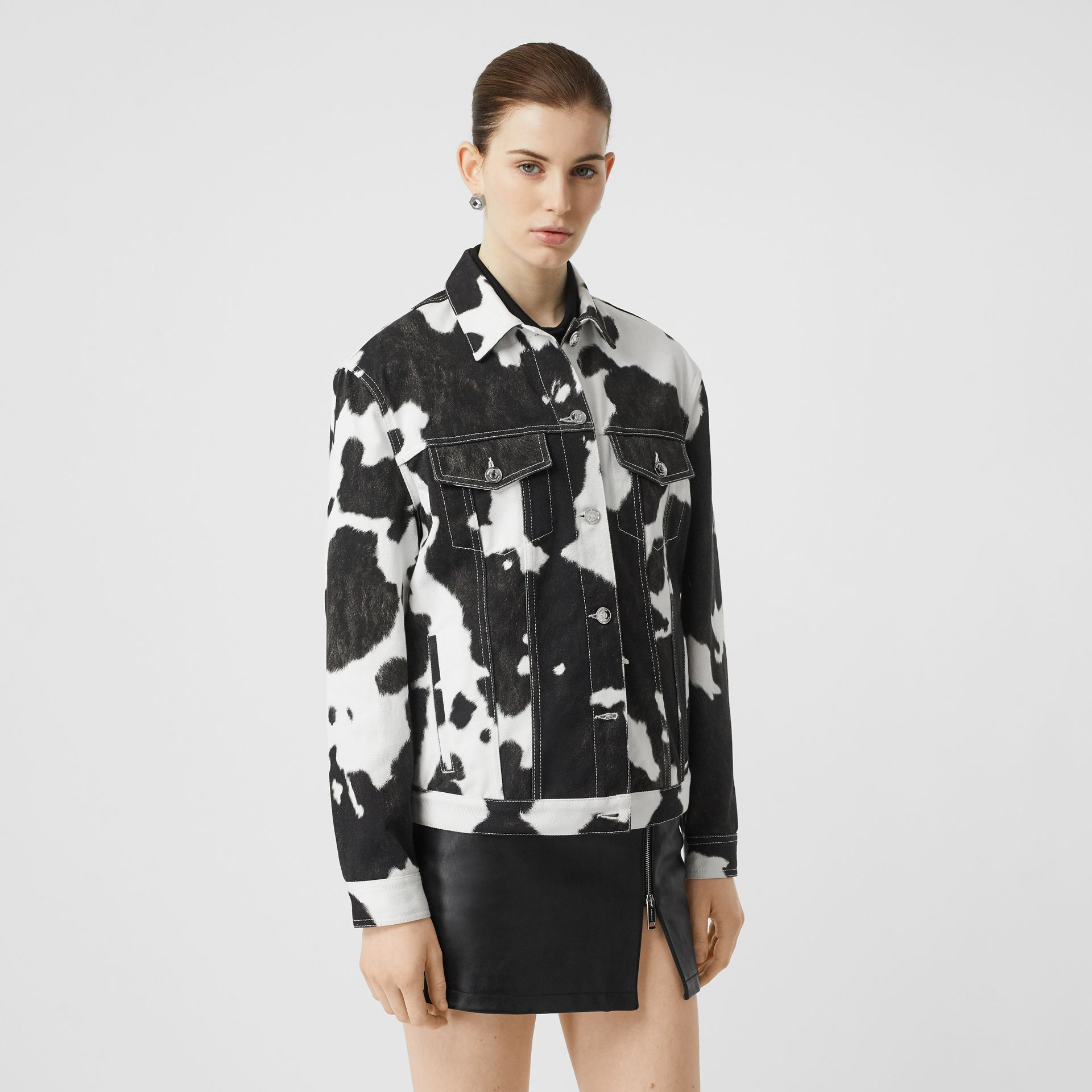 Cow Print Denim Jacket in Black - Women | Burberry - gallery image 5