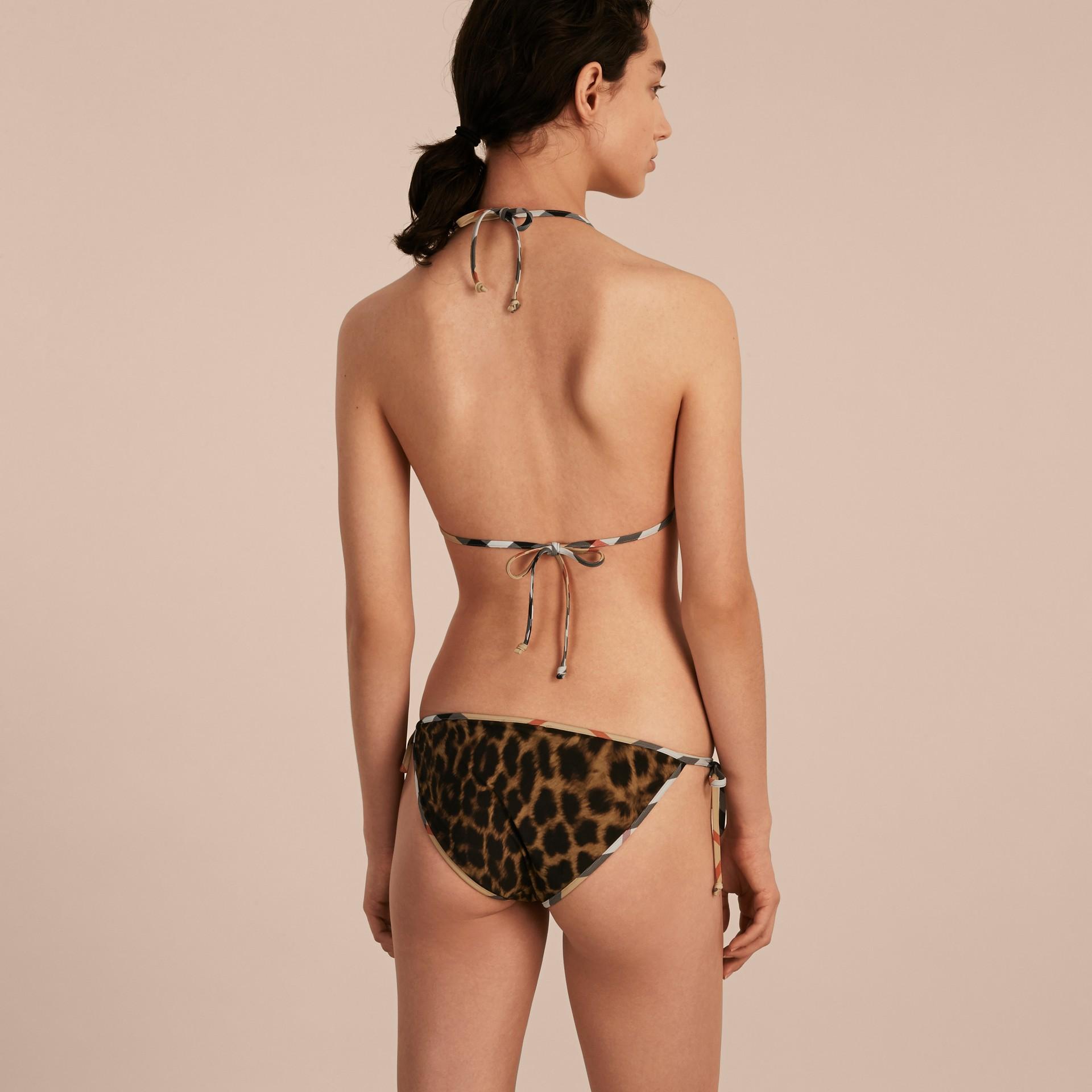 Animal Print Triangle Bikini with Check Trim - gallery image 3