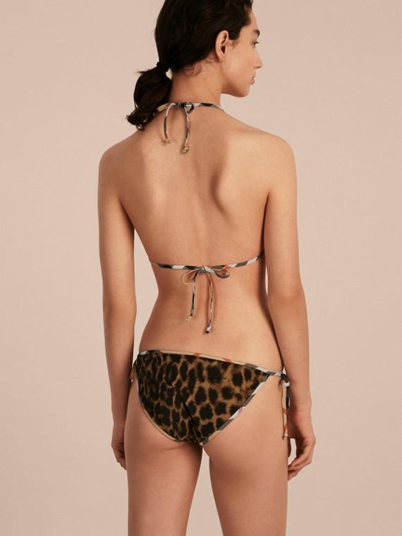 Animal Print Triangle Bikini with Check Trim - cell image 2
