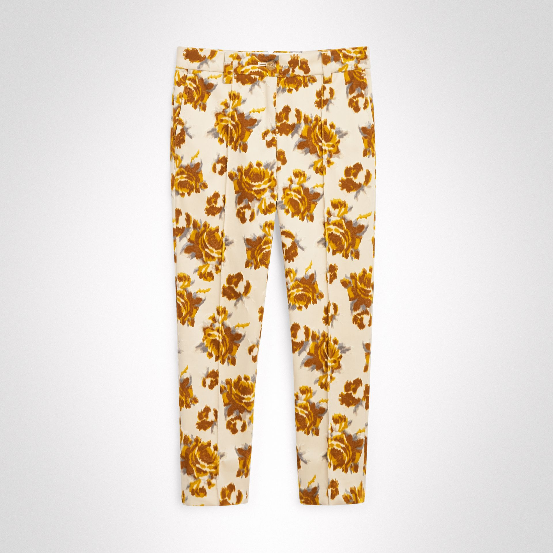 Floral Velvet Jacquard Trousers in Mustard Pattern | Burberry Singapore - gallery image 0