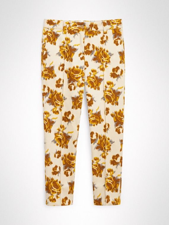 Floral Velvet Jacquard Trousers in Mustard Pattern