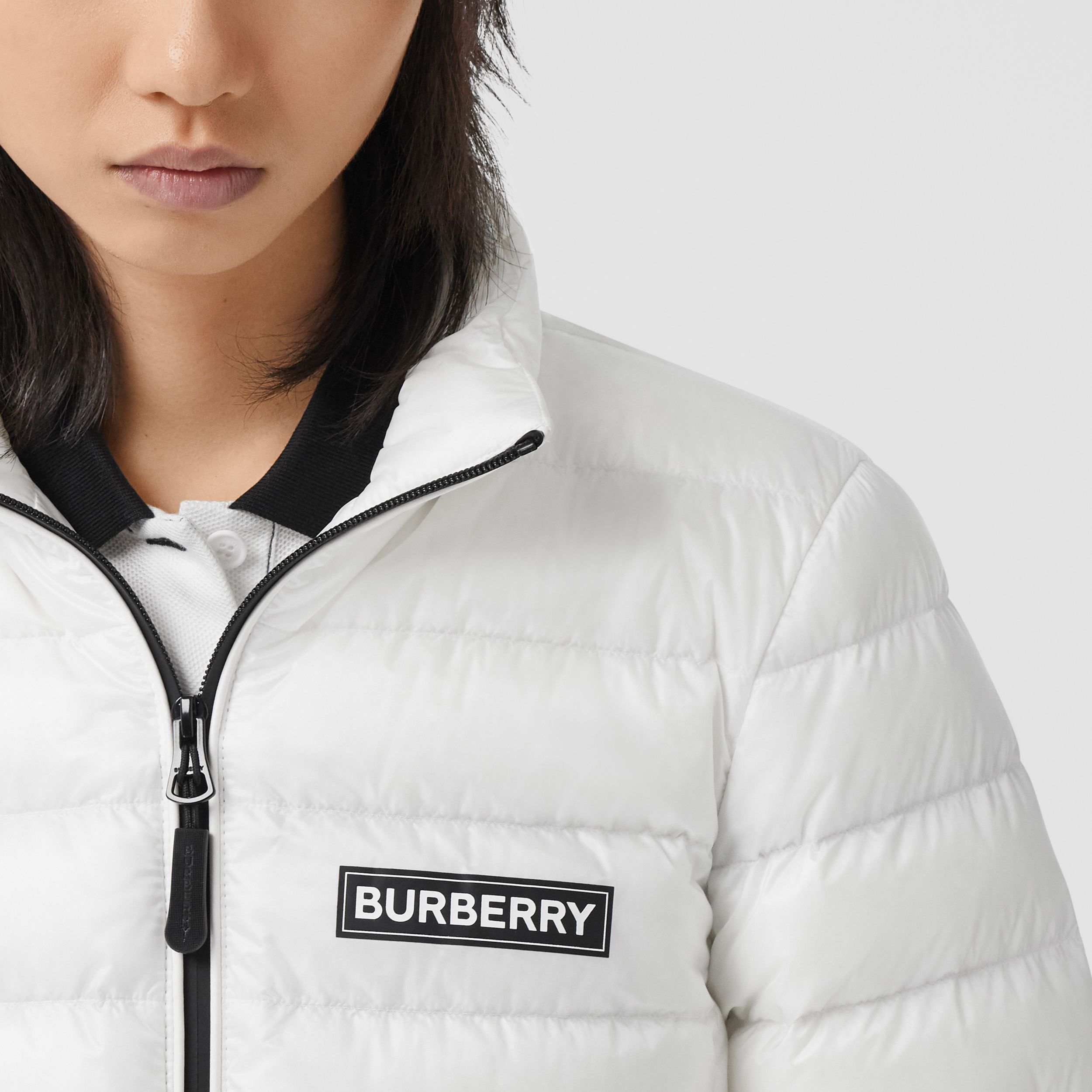 Logo Print Lightweight Puffer Jacket in White - Women | Burberry - 2