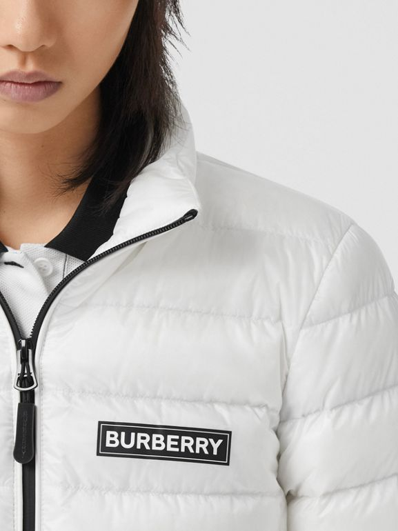 Logo Print Lightweight Puffer Jacket in White - Women | Burberry Australia - cell image 1