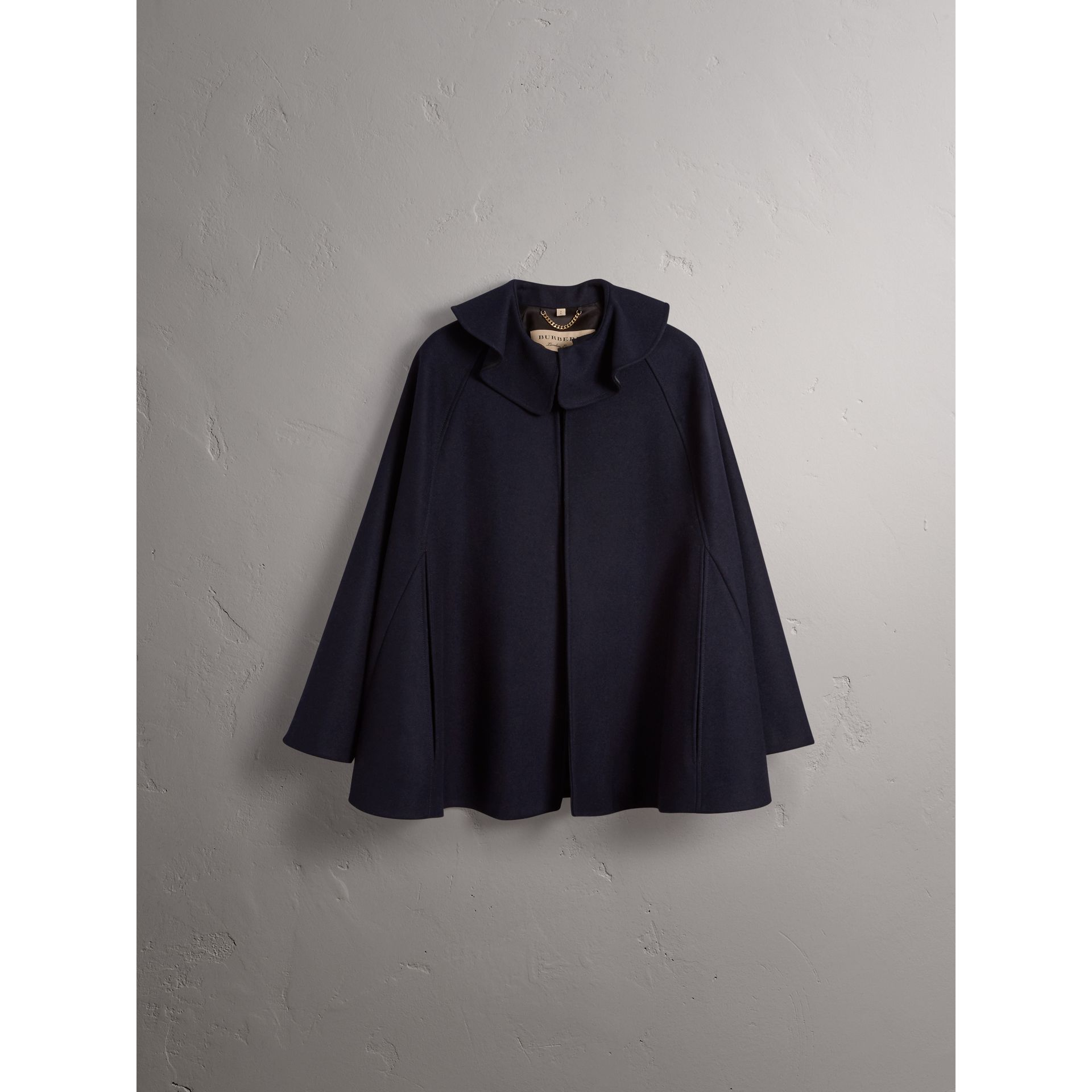 Ruffle Collar Wool Cape in True Navy - Women | Burberry Canada - gallery image 3