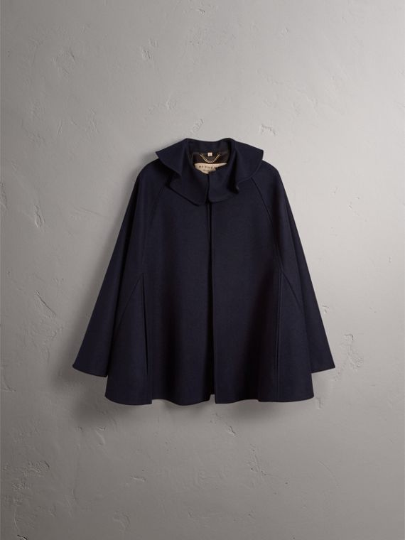 Ruffle Collar Wool Cape in True Navy - Women | Burberry Canada - cell image 3