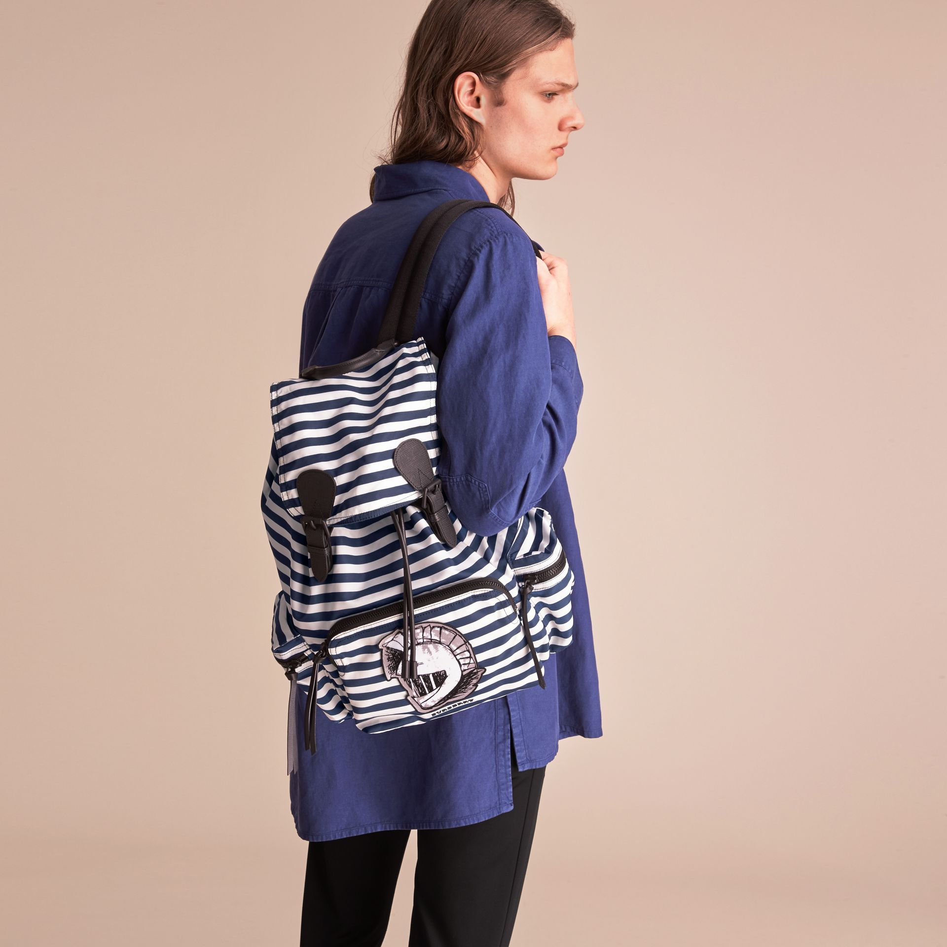 The Large Rucksack in Striped Nylon with Pallas Helmet Motif in Bright Cyan Blue - Men | Burberry - gallery image 2