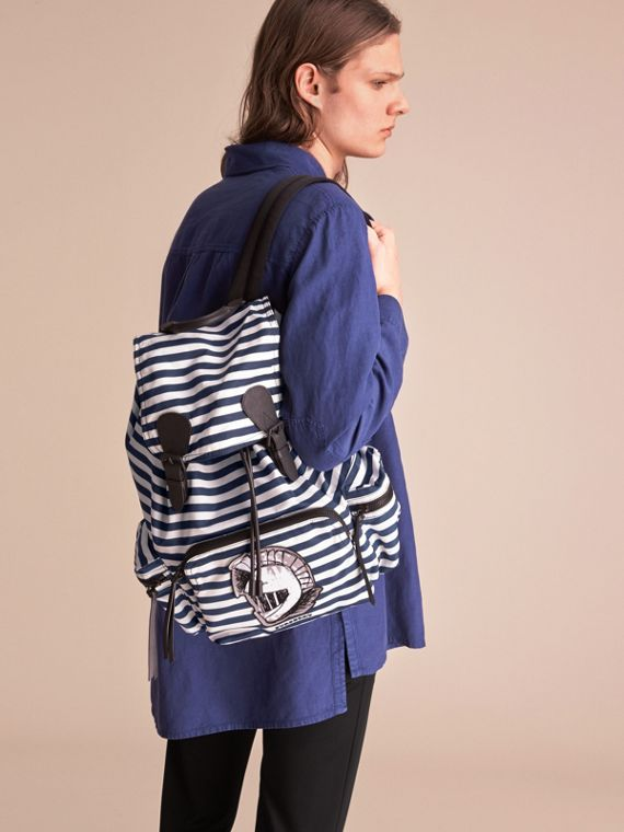 The Large Rucksack in Striped Nylon with Pallas Helmet Motif