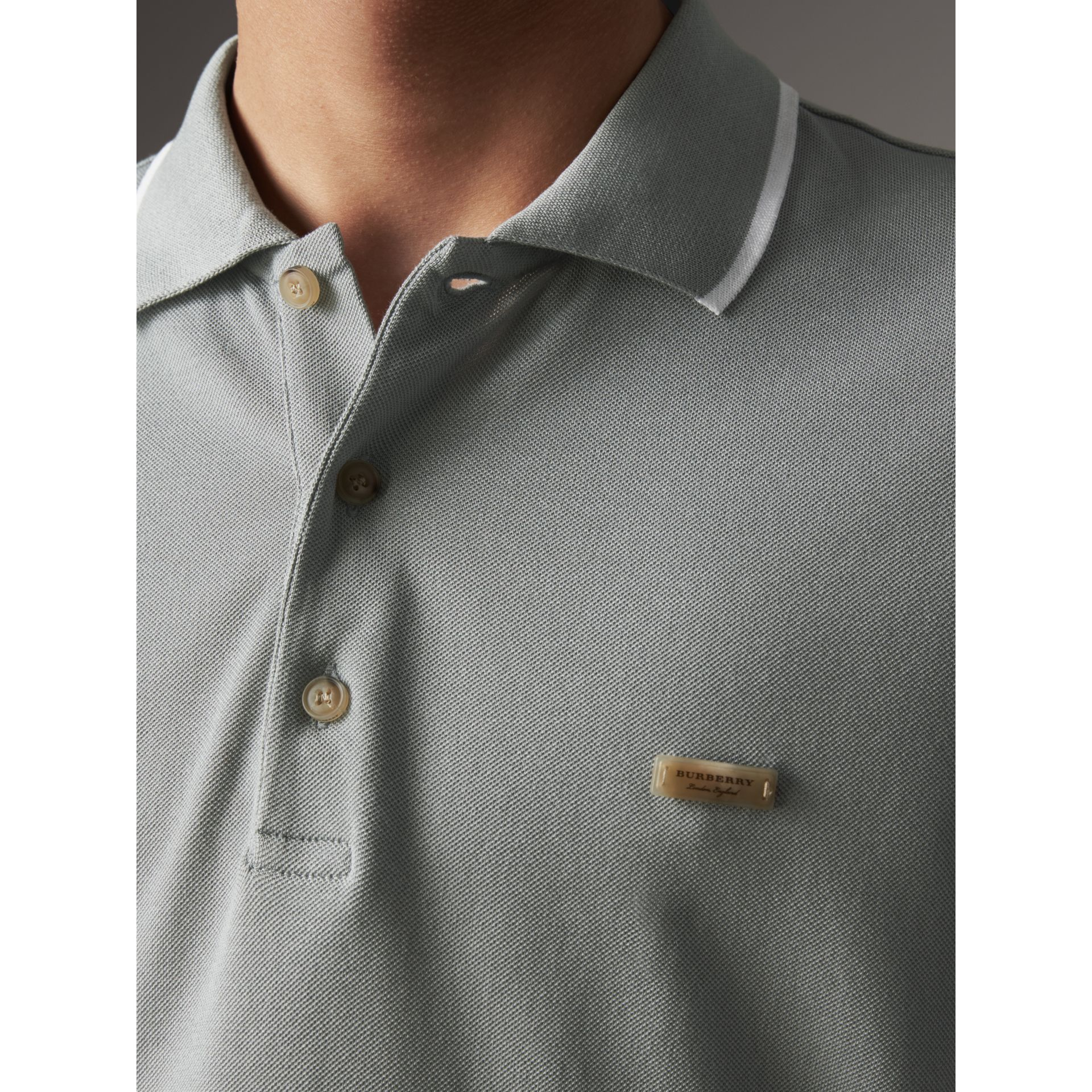 Tipped Collar Cotton Piqué Polo Shirt in Mist Grey - Men | Burberry Singapore - gallery image 2