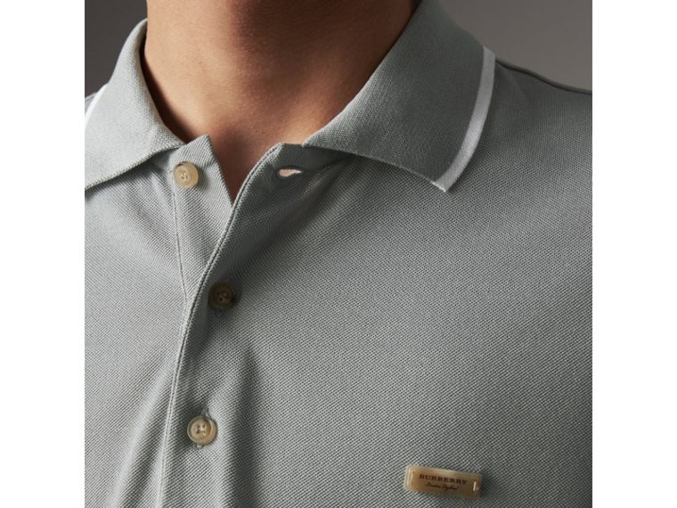 Tipped Collar Cotton Piqué Polo Shirt in Mist Grey - Men | Burberry - cell image 1