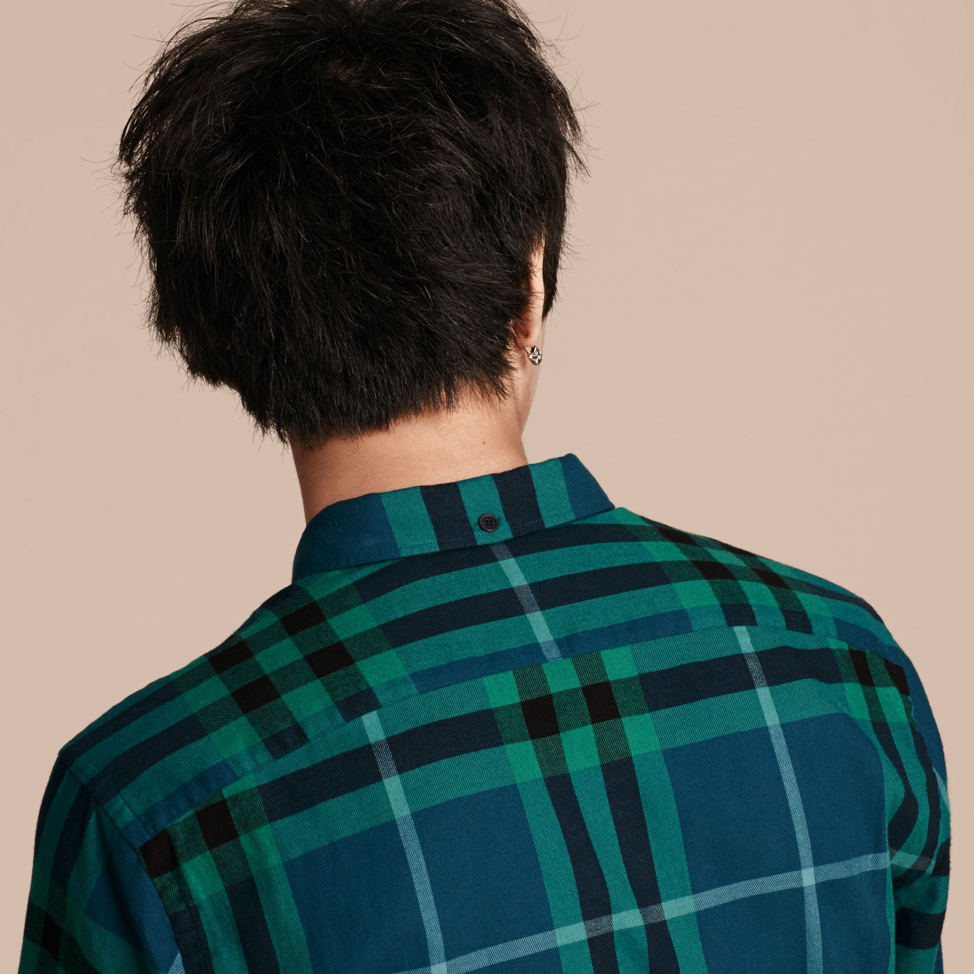 Mineral blue Check Cotton Flannel Shirt Mineral Blue - gallery image 5