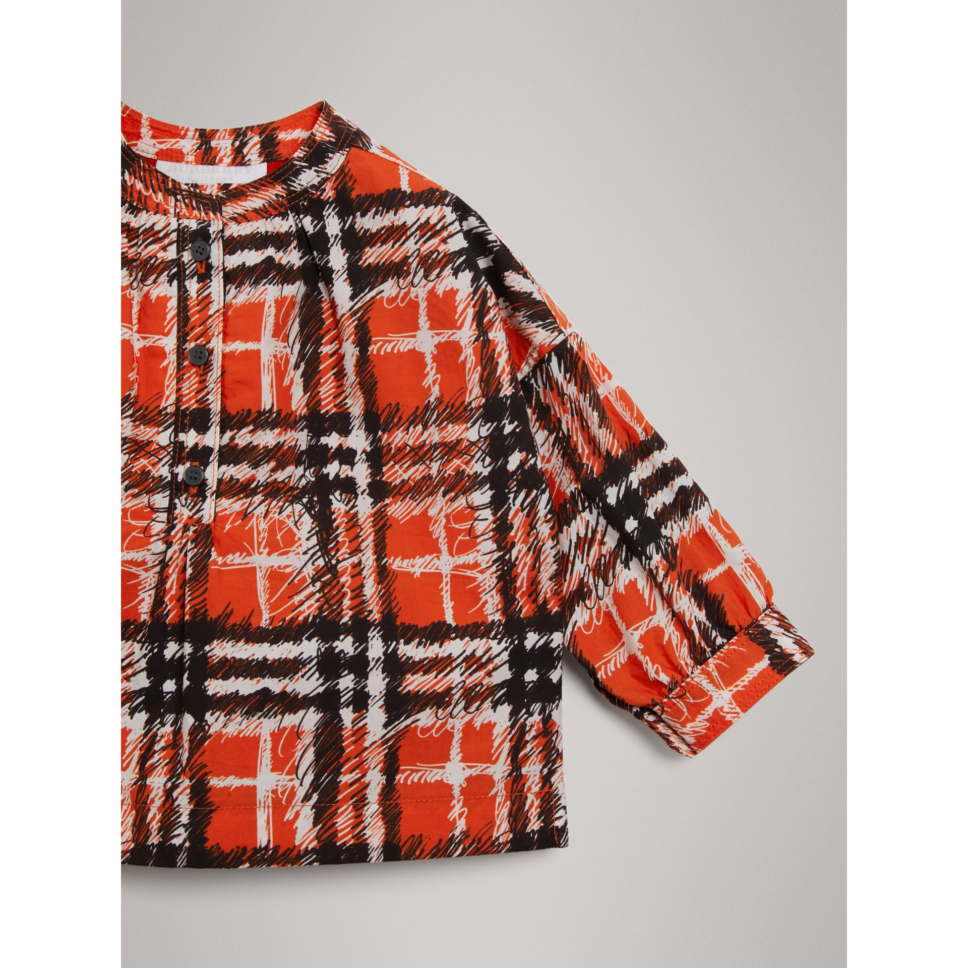Scribble Check Print Cotton Shirt in Bright Red - Girl | Burberry - gallery image 4