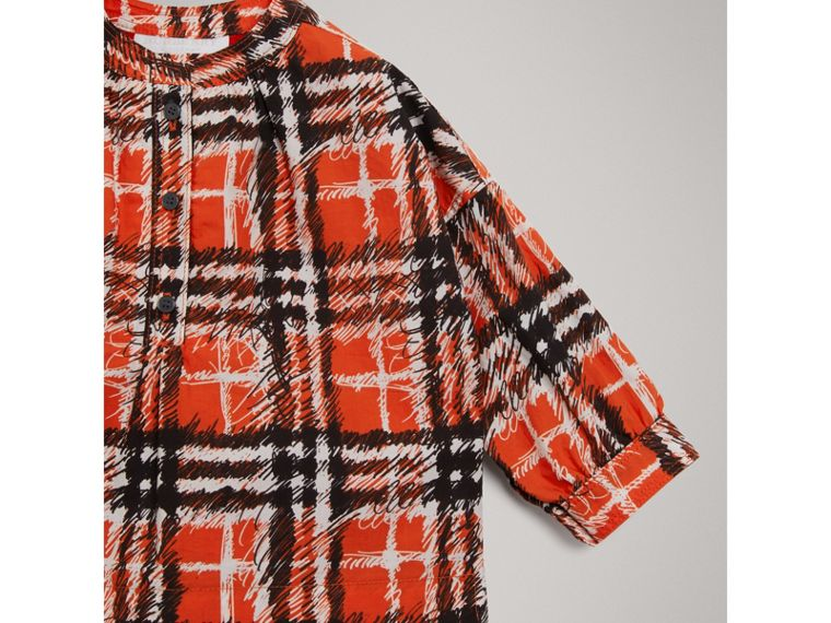 Scribble Check Print Cotton Shirt in Bright Red | Burberry - cell image 4