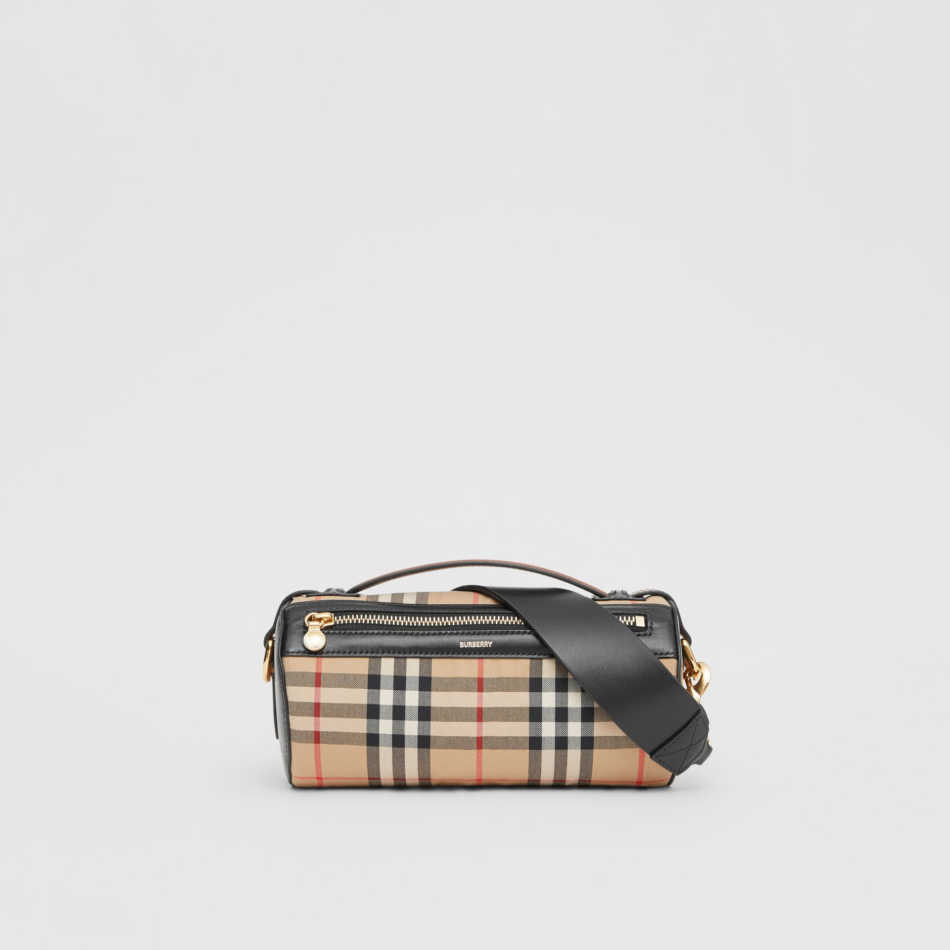 The Vintage Check and Leather Barrel Bag in Archive Beige/black - Women | Burberry Canada - gallery image 0