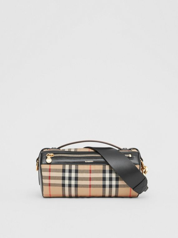 The Vintage Check and Leather Barrel Bag in Archive Beige/black