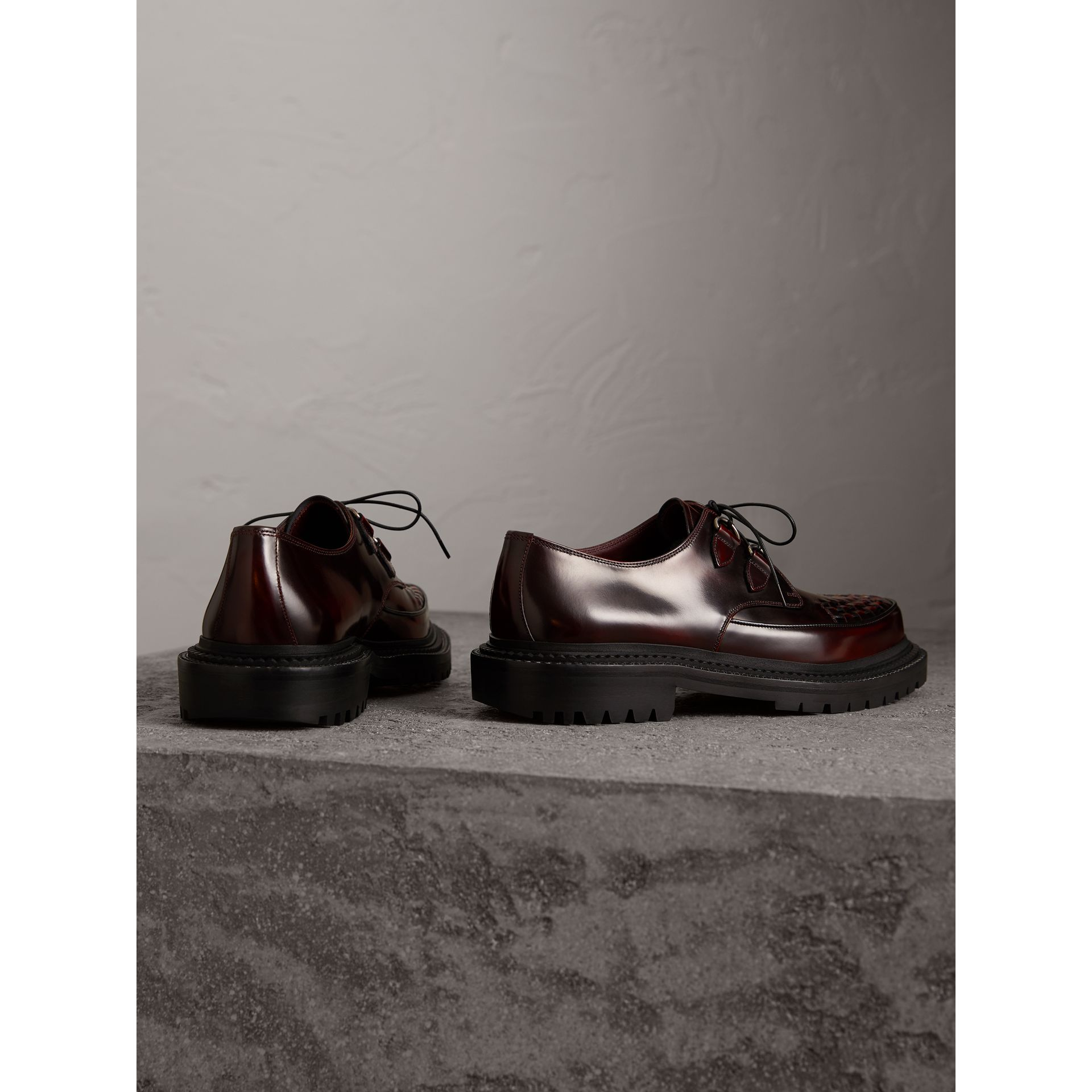 Woven-toe Leather Lace-up Shoes in Bordeaux - Men | Burberry Australia - gallery image 3