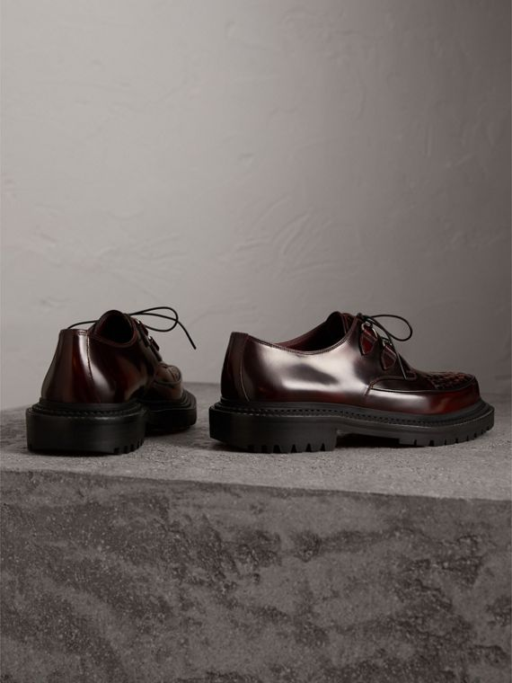 Woven-toe Leather Lace-up Shoes in Bordeaux - Men | Burberry Australia - cell image 3