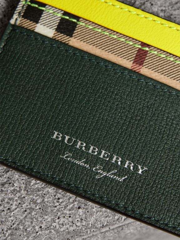 Haymarket Check and Two-tone Leather Card Case in Bright Yellow | Burberry - cell image 1