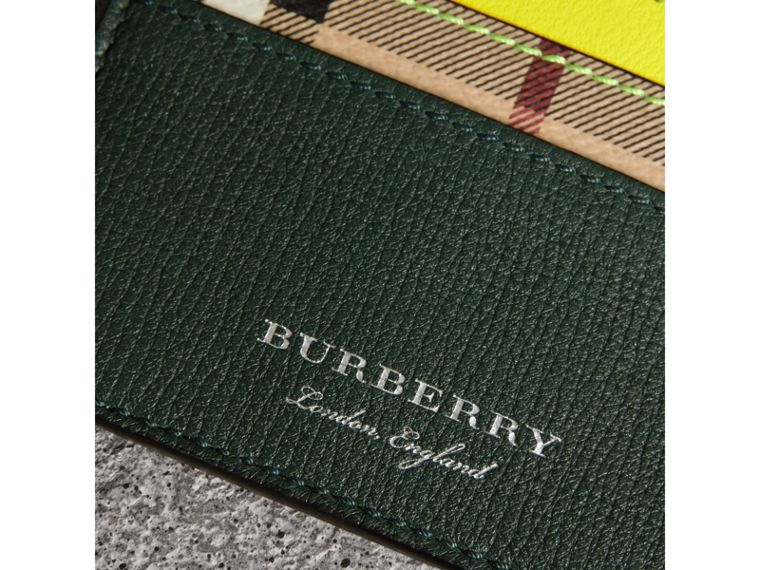 Haymarket Check and Two-tone Leather Card Case in Bright Yellow - Men | Burberry - cell image 1