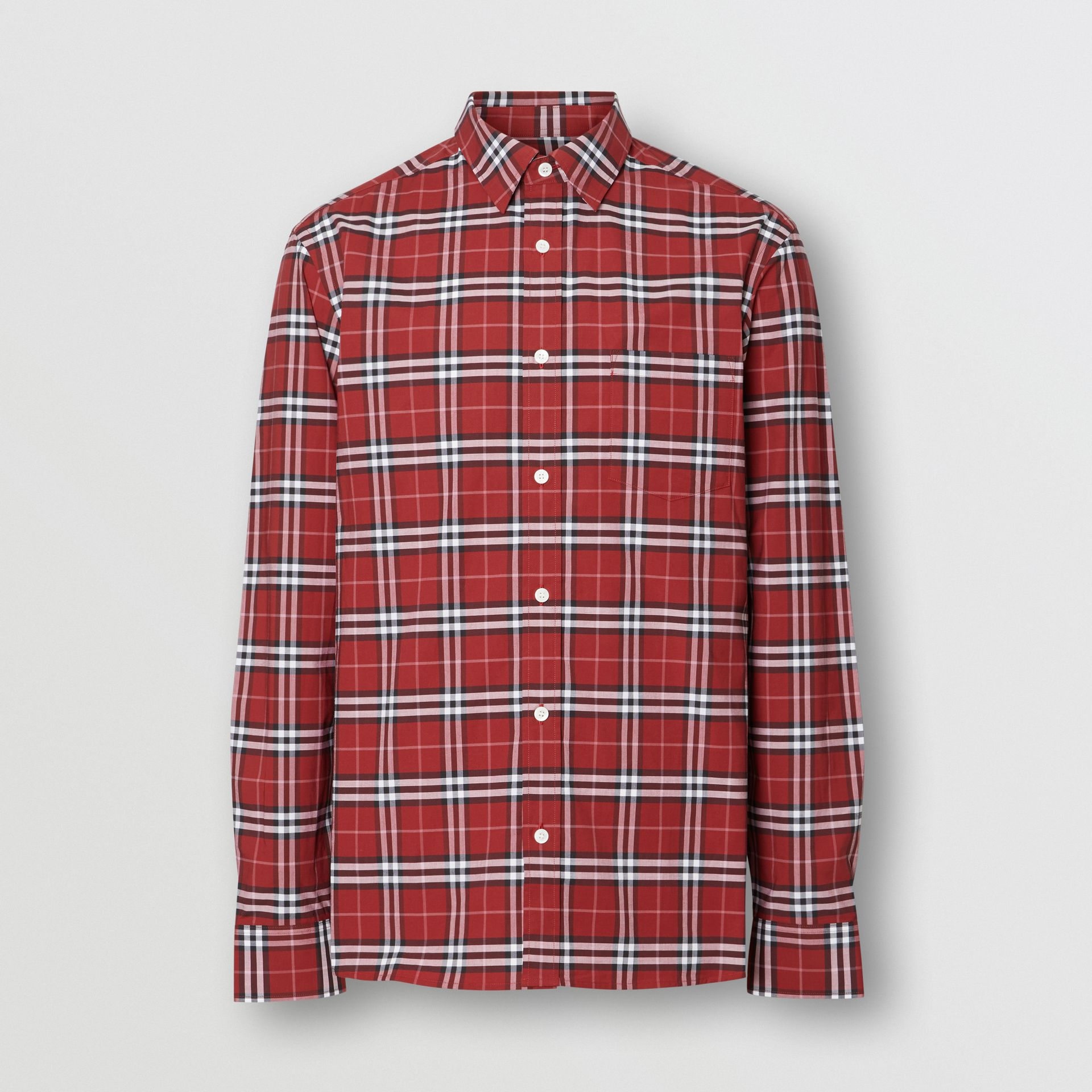 Check Stretch Cotton Shirt in Bright Red - Men | Burberry - gallery image 3