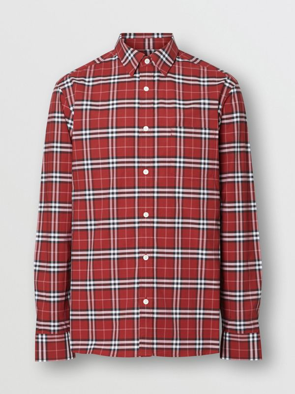 Check Stretch Cotton Shirt in Bright Red - Men | Burberry - cell image 3