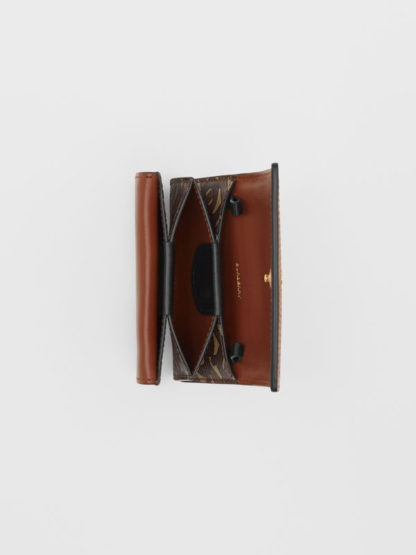 Monogram Stripe E-canvas Card Case with Strap in Bridle Brown | Burberry - cell image 3