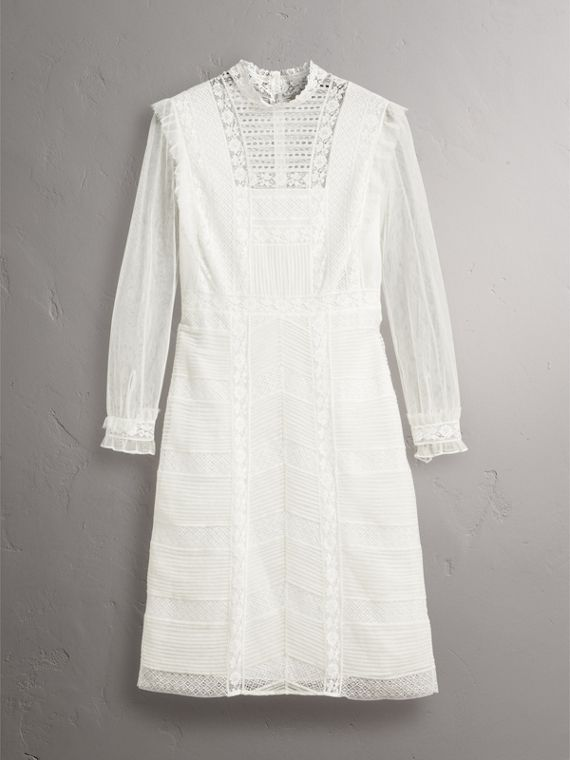 Ruffle Detail Lace Mesh Dress in White - Women | Burberry - cell image 3