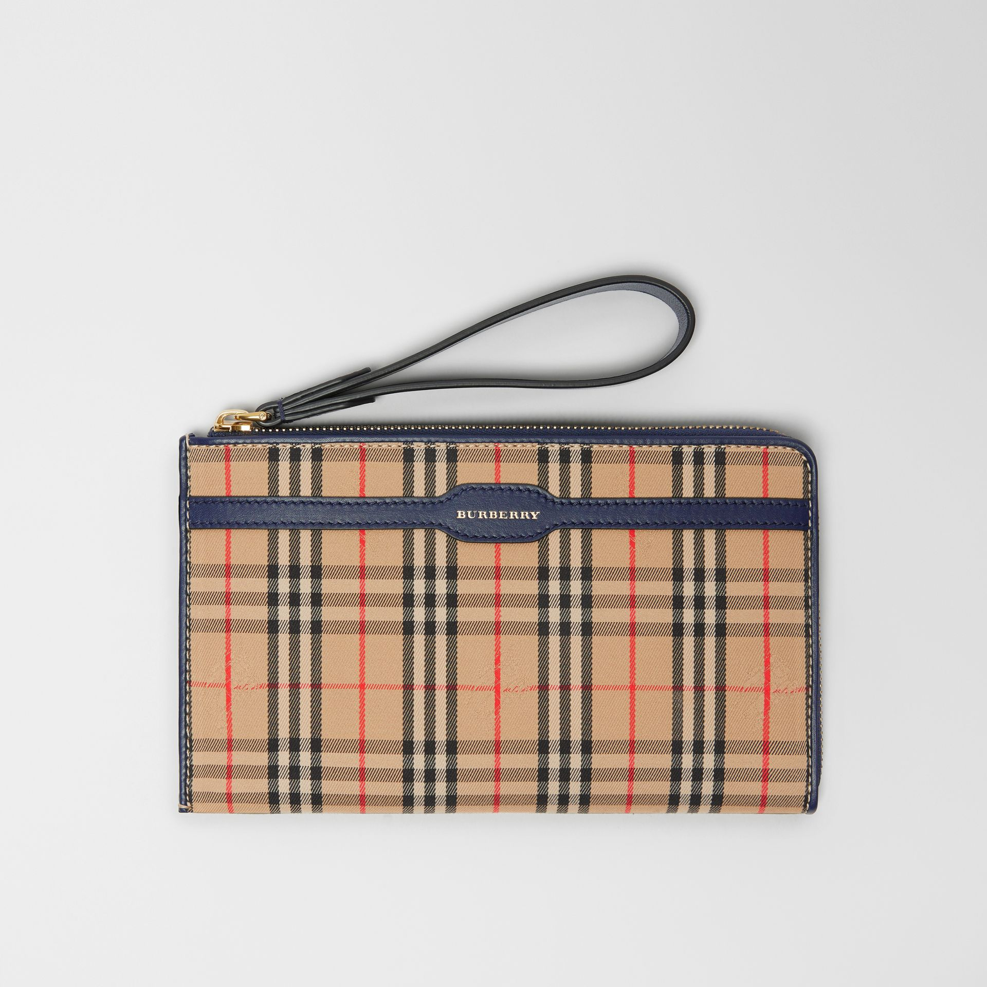 1983 Check and Leather Travel Wallet in Ink Blue - Men | Burberry Australia - gallery image 0