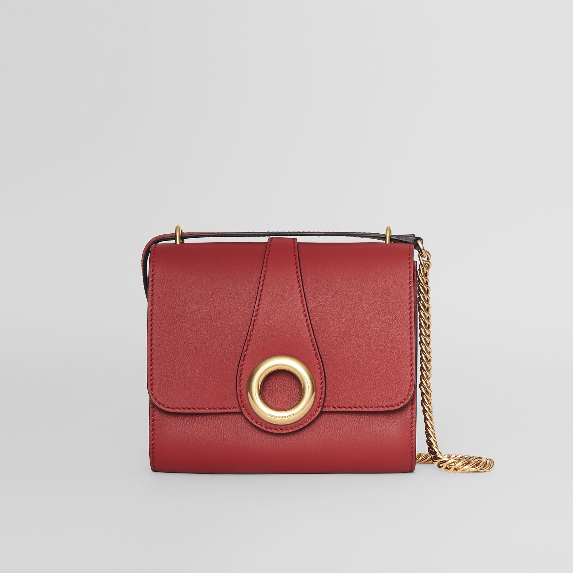 The Leather Grommet Detail Crossbody Bag in Crimson - Women | Burberry Canada - gallery image 0