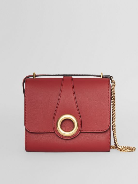 The Leather Grommet Detail Crossbody Bag in Crimson