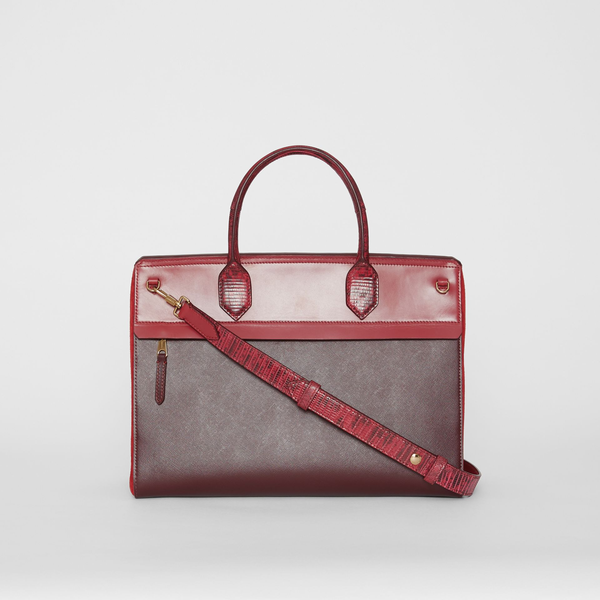 Medium Leather and Suede Elizabeth Bag in Crimson - Women | Burberry Australia - gallery image 7