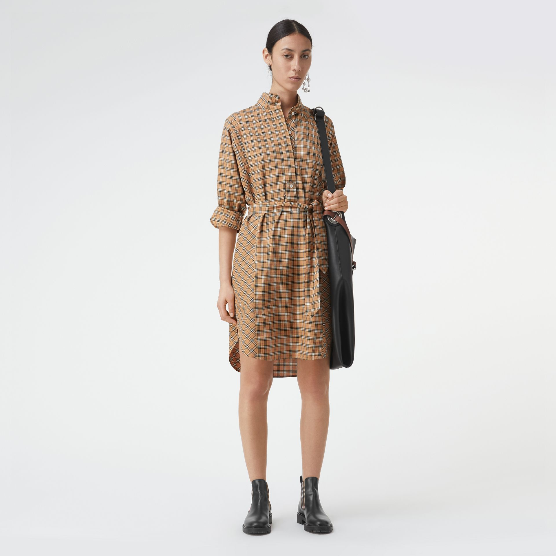 Check Cotton Tie-waist Shirt Dress in Antique Yellow - Women | Burberry Australia - gallery image 0