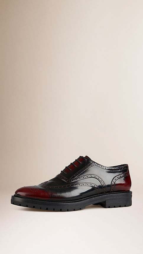 Bordeaux Leather Wingtip Brogues With Rubber Sole Bordeaux - Image 1