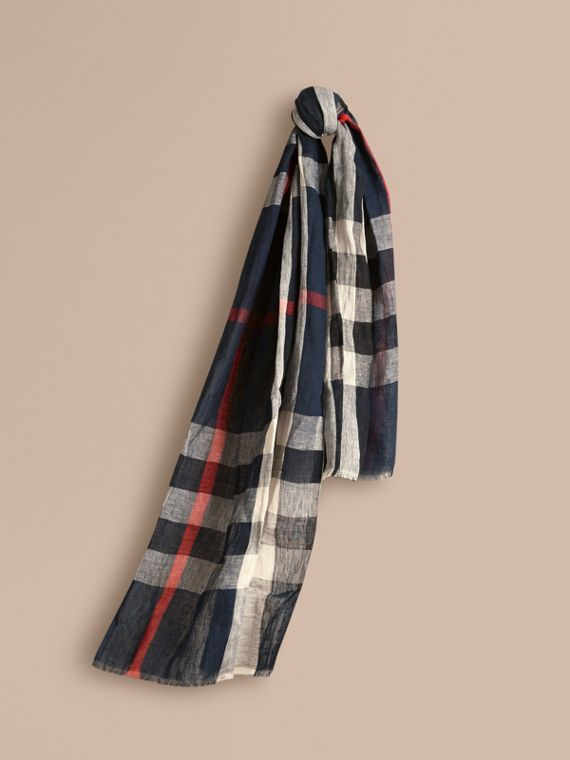 Check Linen Crinkled Scarf Navy